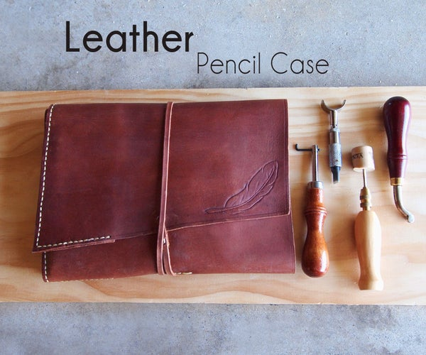 Large Leather Pencil Case for Art Supplies & More