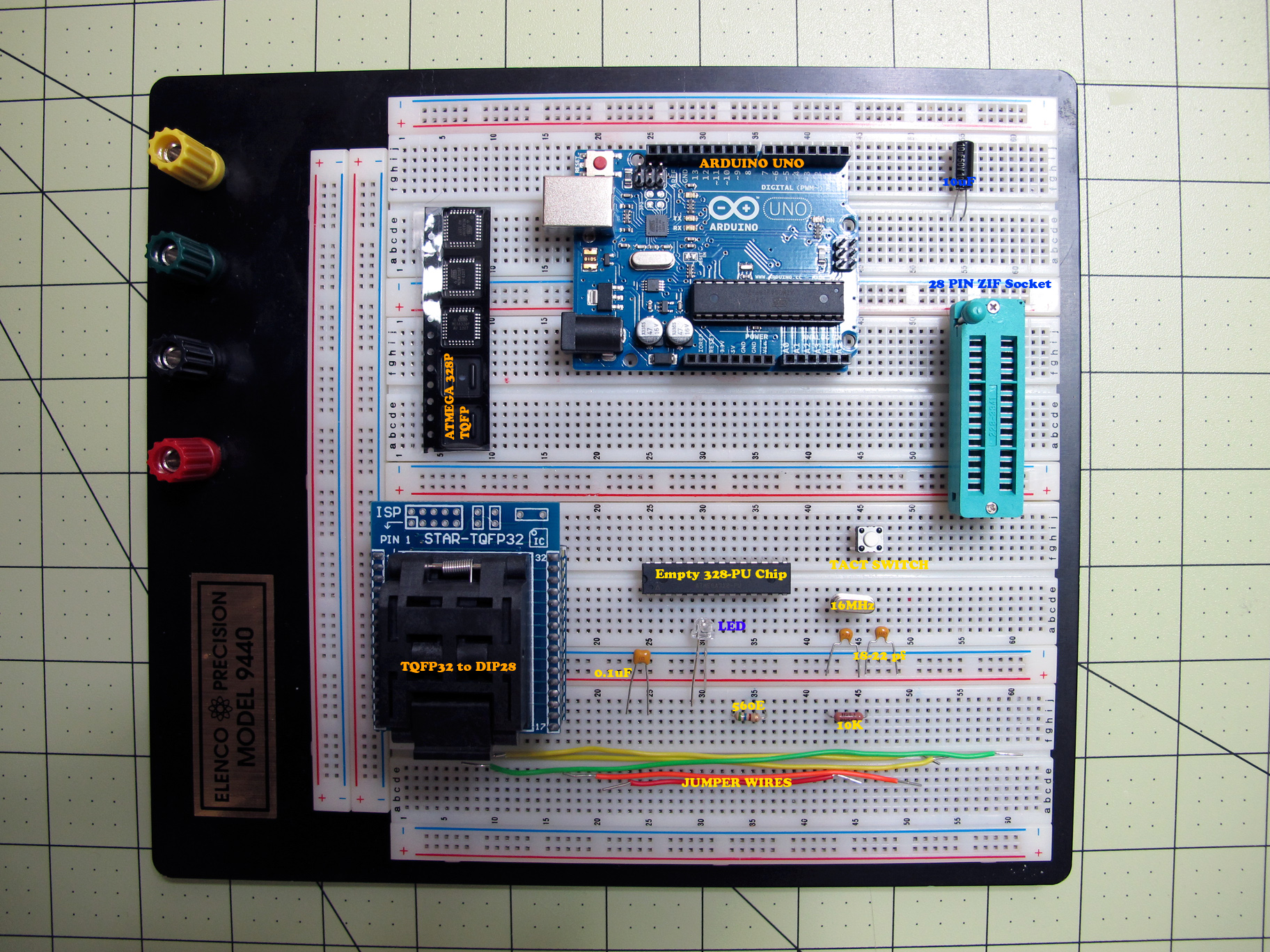 Burn Arduino Bootloader on Atmega-328 TQFP and DIP chips on Breadboard