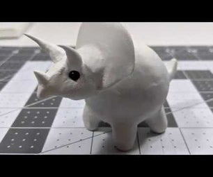 Cute Polymer Clay Triceratops