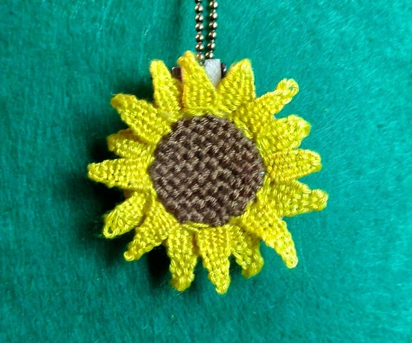 Woven Embroidery, Sunflower Necklace