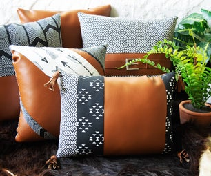 Fabric & Faux Leather Throw Pillows