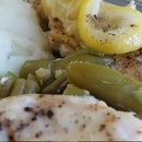 Roasted Chicken with Lemon Garlic Green Beans