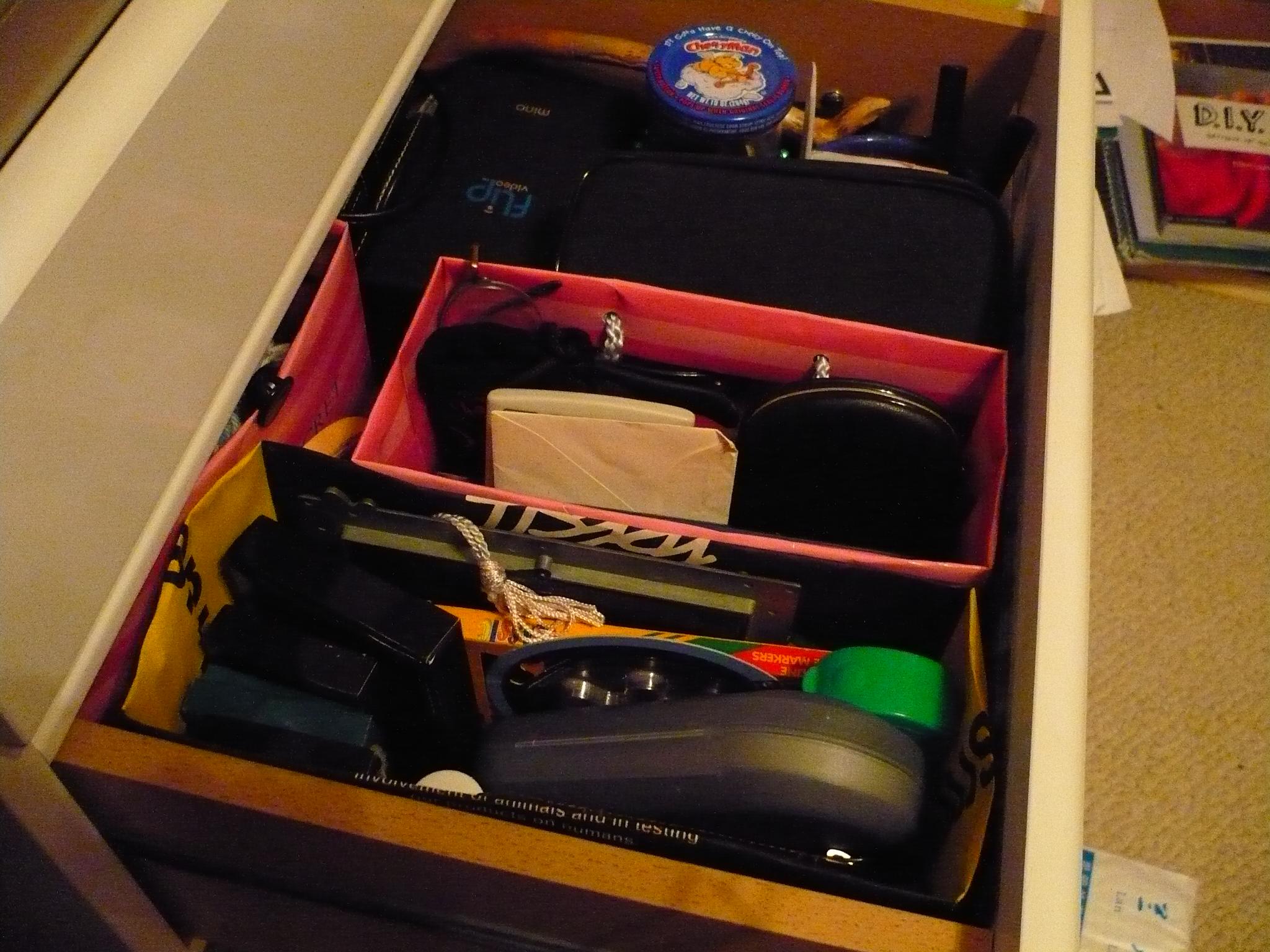 Paper shopping bag drawer organizers