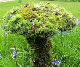 Chicken Wire and Moss Toadstool Living Sculpture