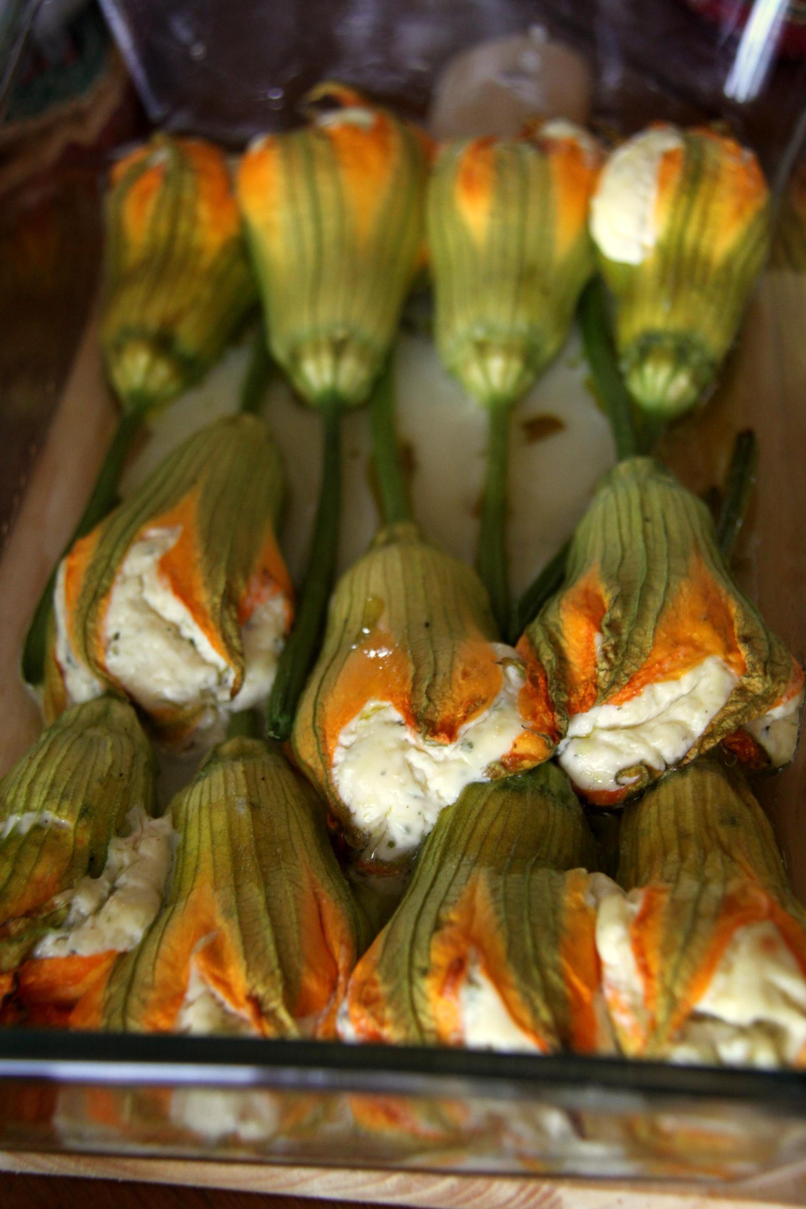 Fiori di Zucca ripieni ~ Filled Zucchini Flowers