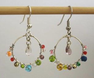 Rainbow Bead Hoop Earrings