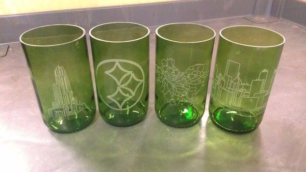 Laser Engraved Recycled Wine Bottle Glasses