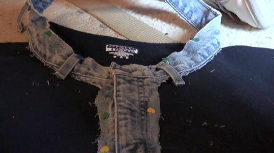 Pin the Jean Waist to the Sweatshirt Collar
