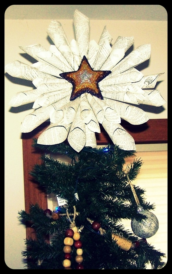Shimmering Paper Star Tree Topper