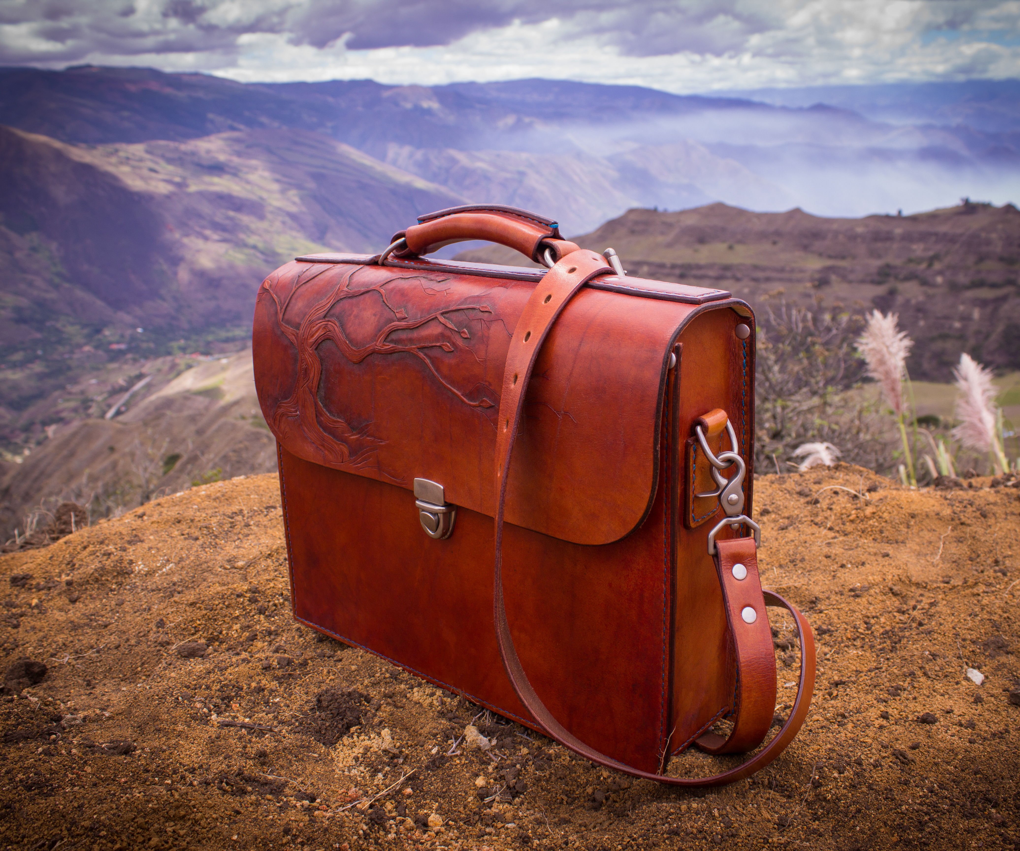 Tooled Leather Briefcase