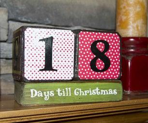 Cute Wooden Christmas Countdown Blocks