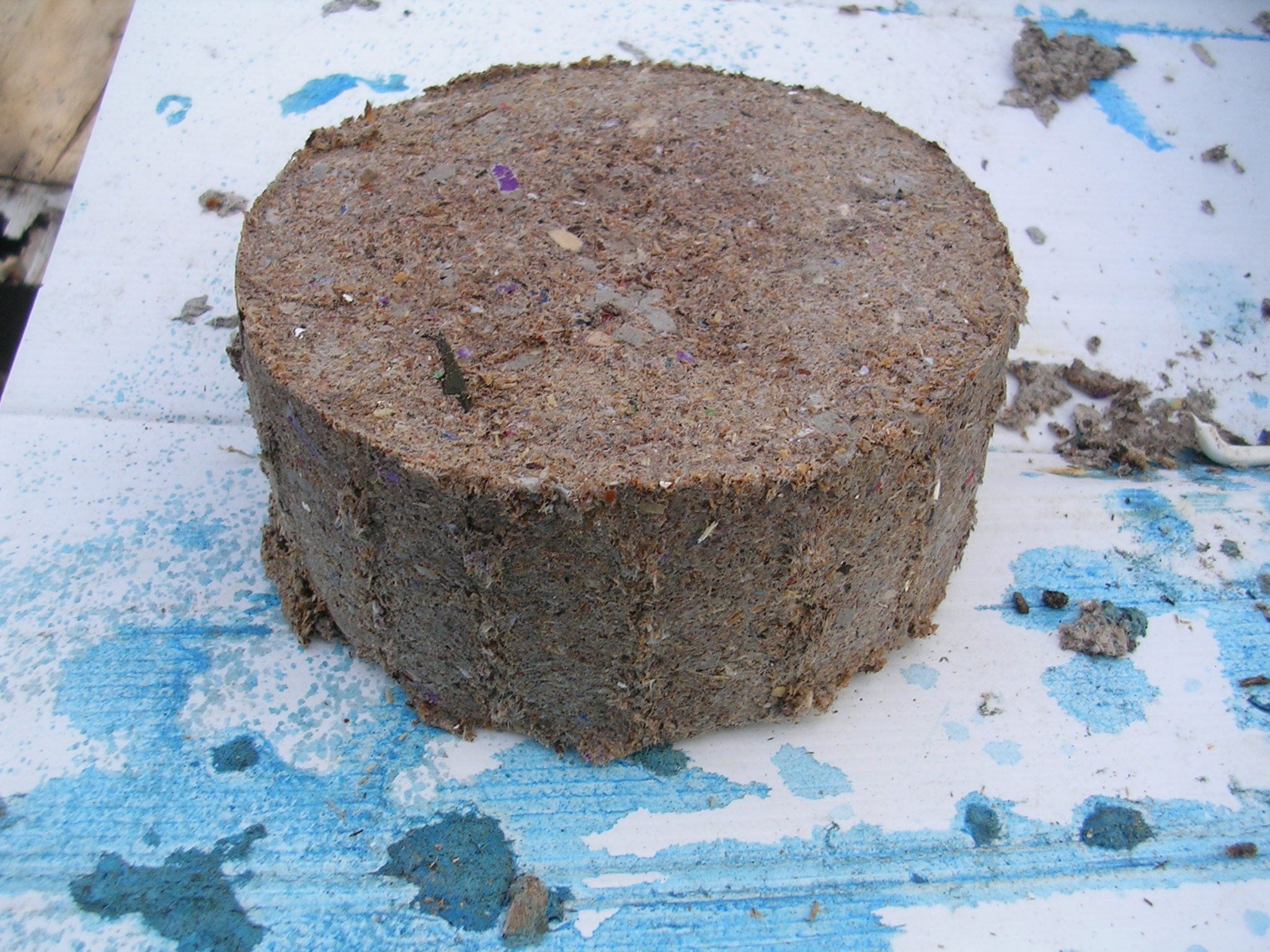 Bio fuel briquettes, compress paper pulp and sawdust into fuel bricks.