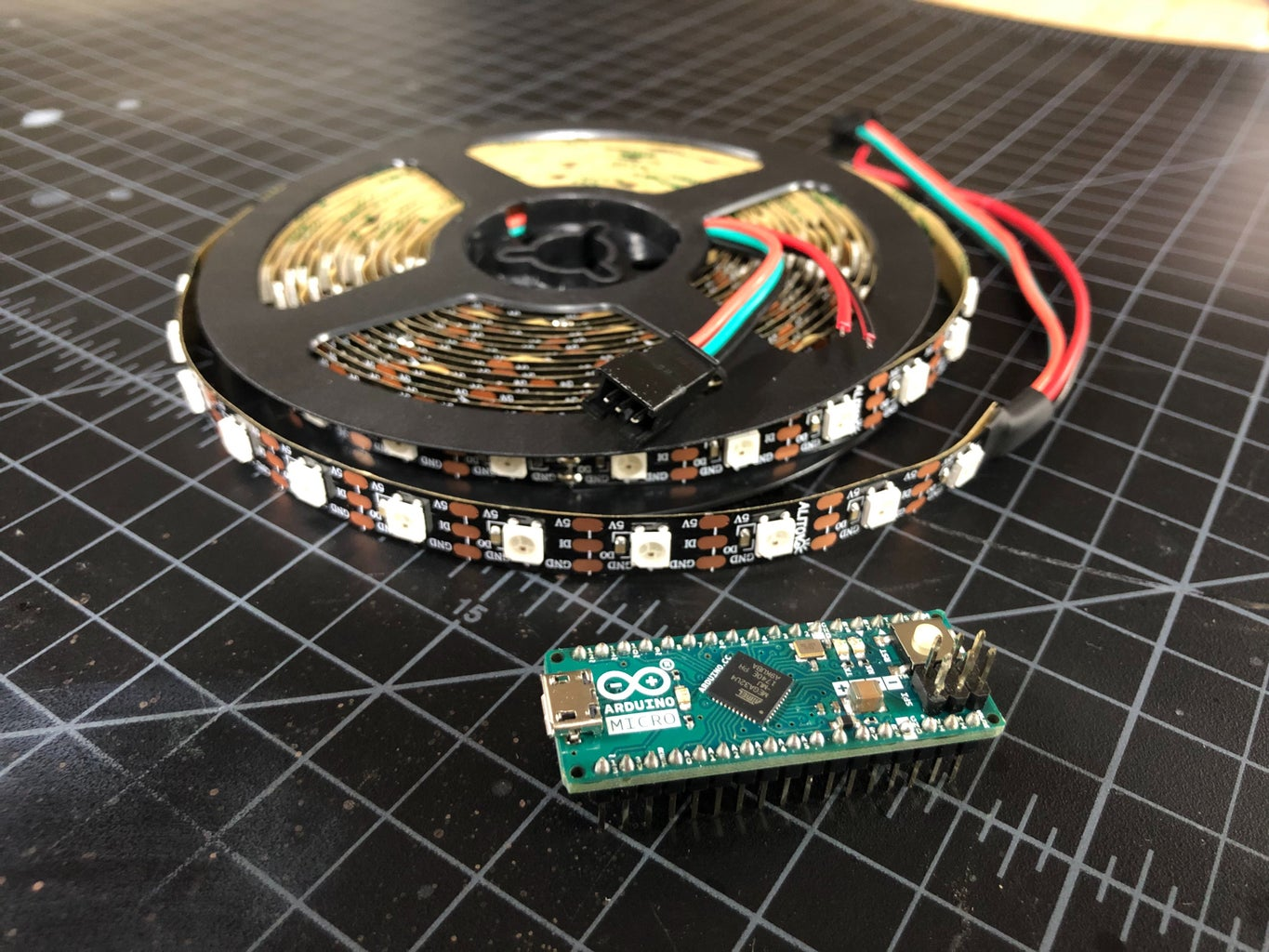 The Arduino and the LEDs!