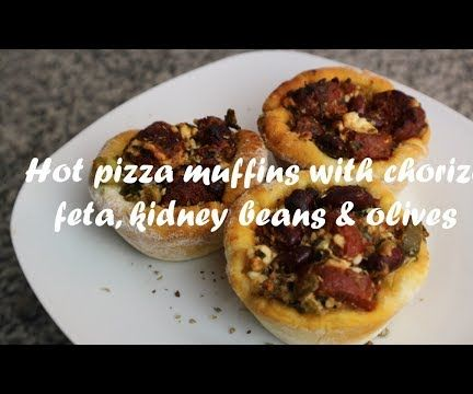 Hot Pizza Muffins With Chorizo, Feta, Kidney Beans & Olives Recipe