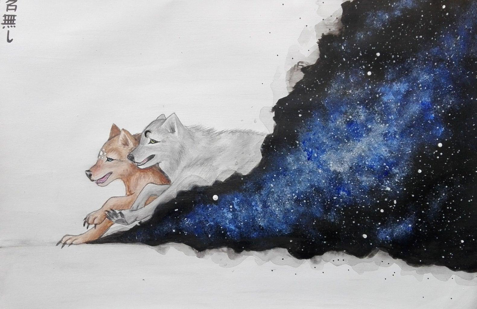 Skoll & Hati Galaxy Acrylic Painting