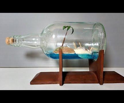 How to Make Resin Beach Bottle / Miniature Tree Art / DIY Cardboard Boat