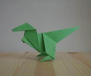 Origami. How to Make a Dinosaur
