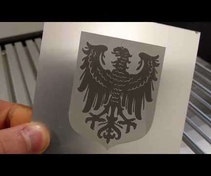 Laser Engraving Eagle Coat of Arms on Aluminium Sheet Metal