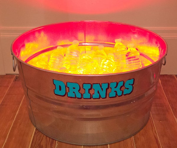 Stenciled Drink Tub With LED Lights