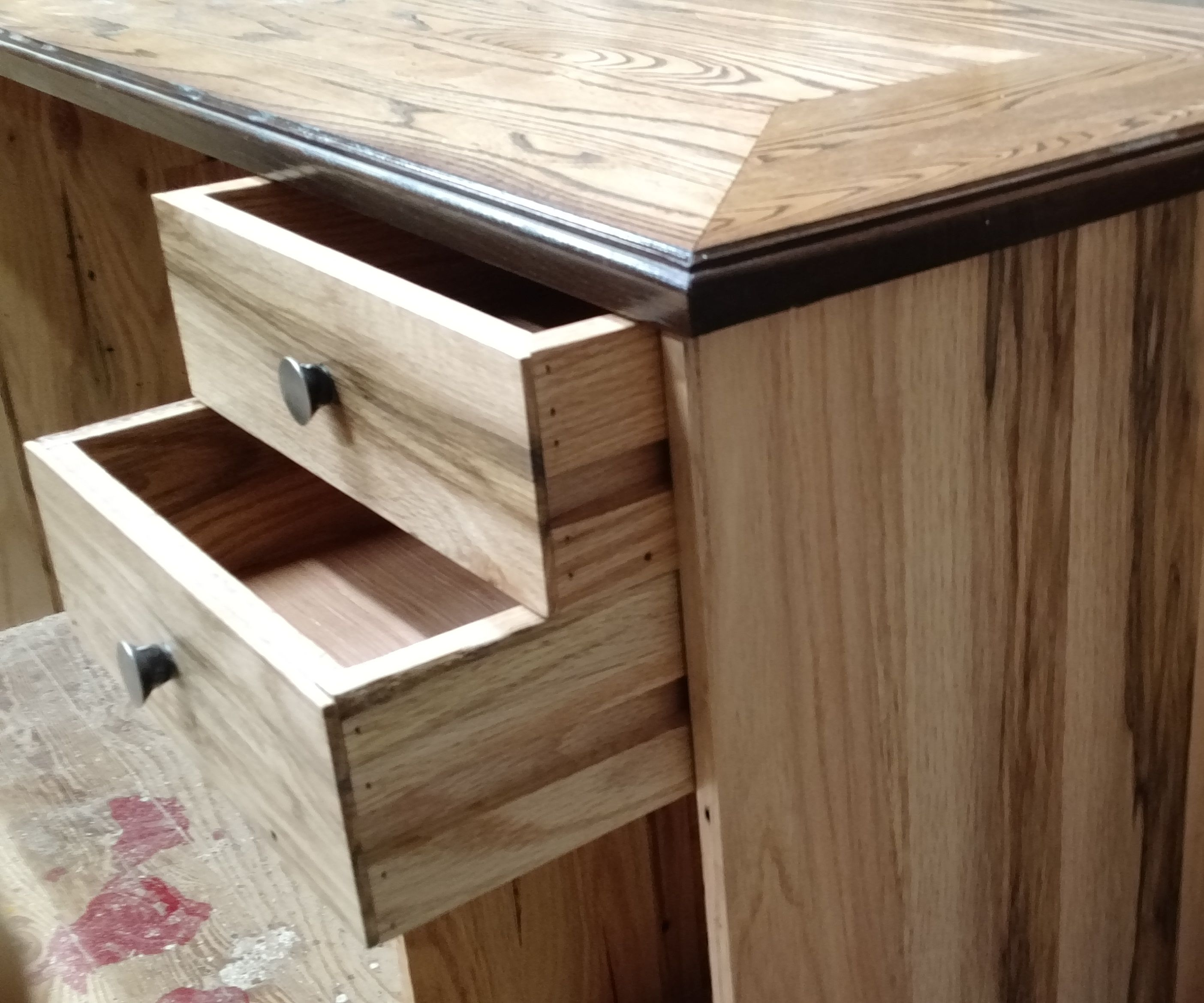 Desk from reclaimed flooring