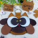 Owl leather coin purse-key chain