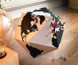 简单的纸张桌面世界地球仪,突出你所有的旅行目的地!