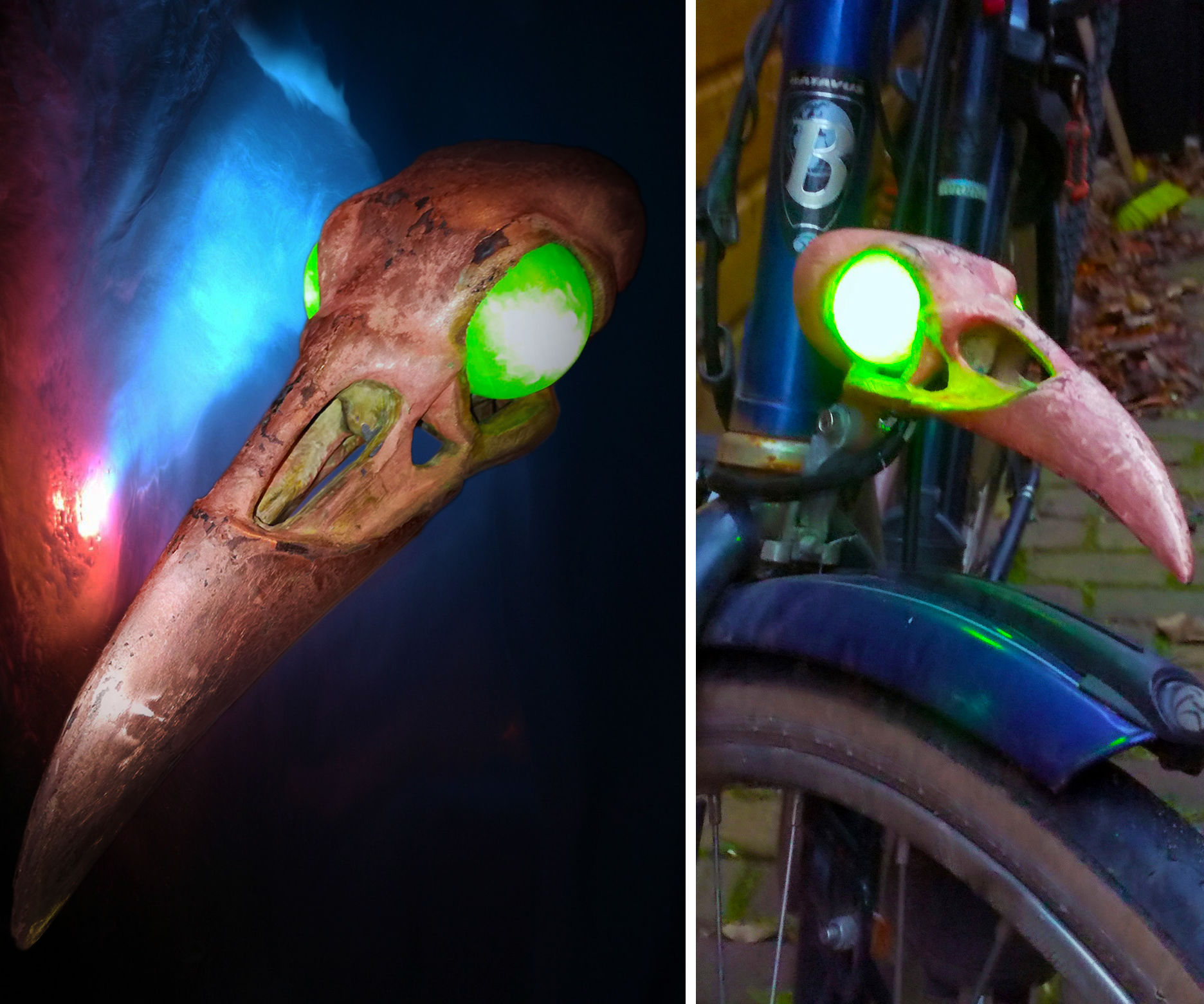 Copper Plated Raven Skull Bicycle Light