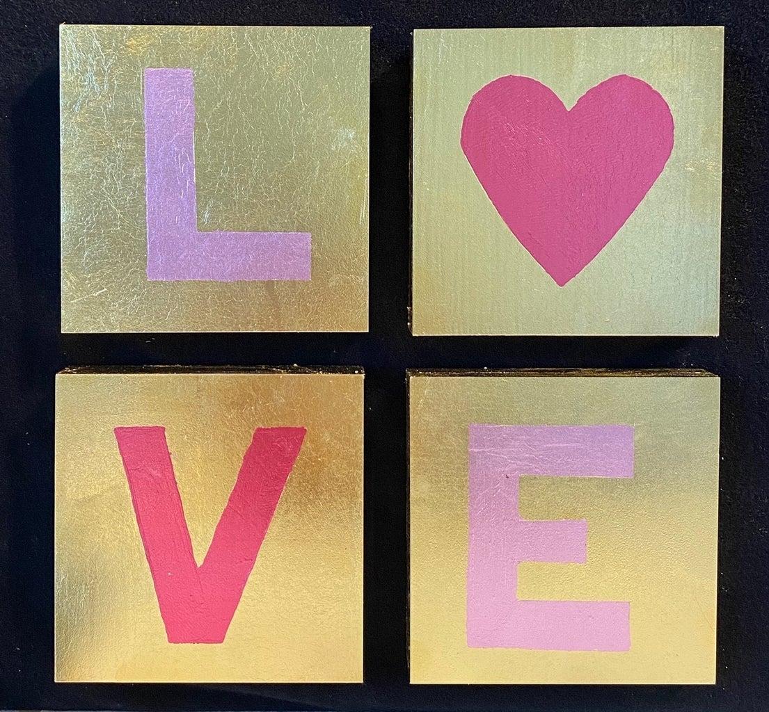 Love Illuminated - Gold Leaf Valentine Art Panels