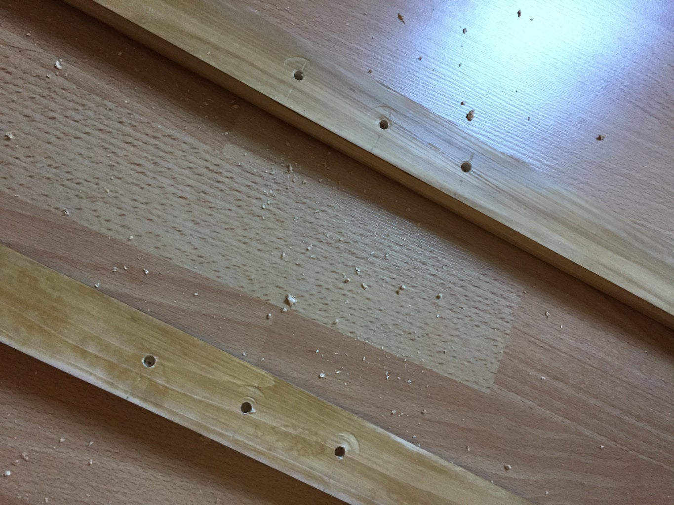 Drilling the Holes for the Adjustable Shelves