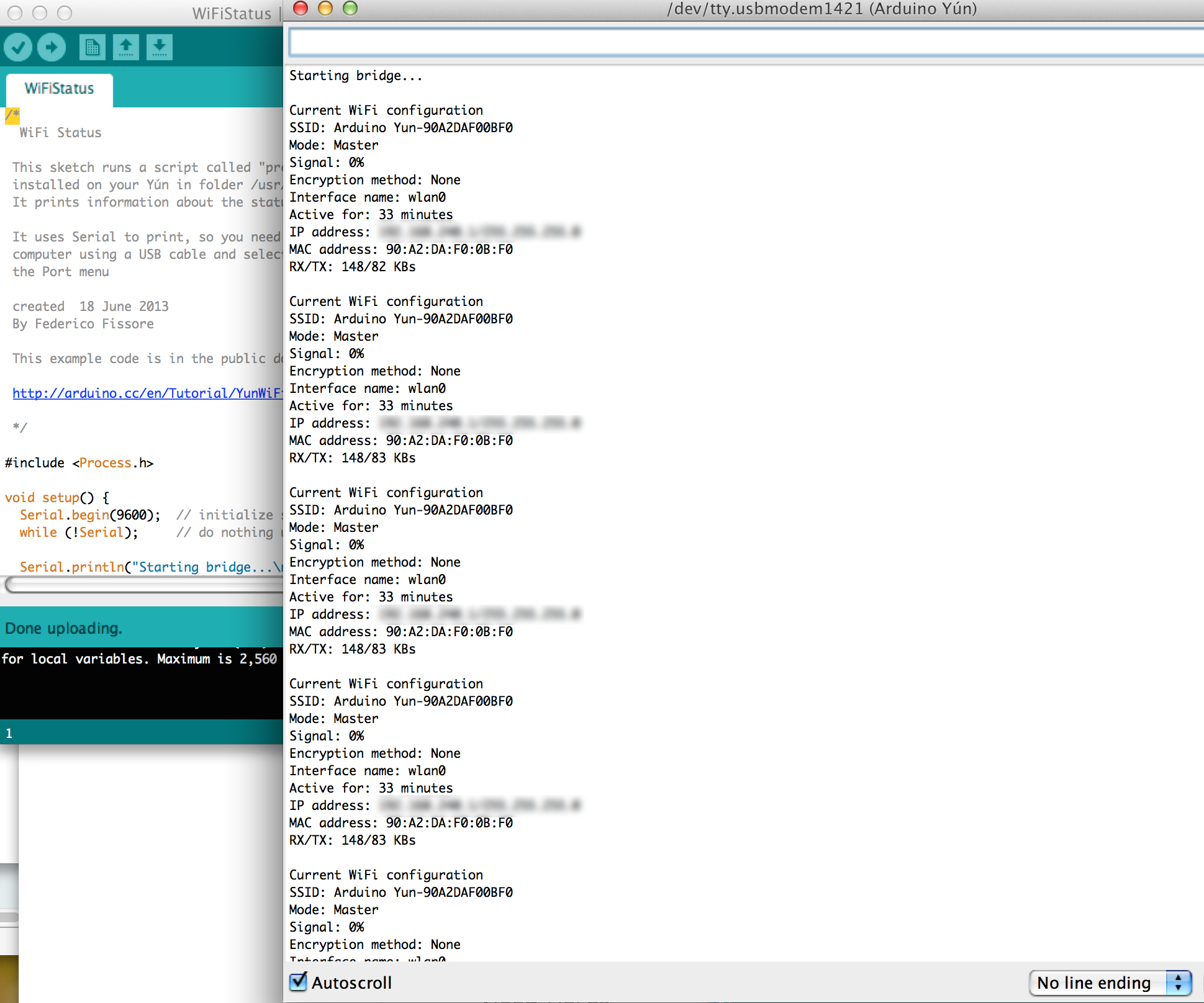 Checking you wifi status with Arduino Yun