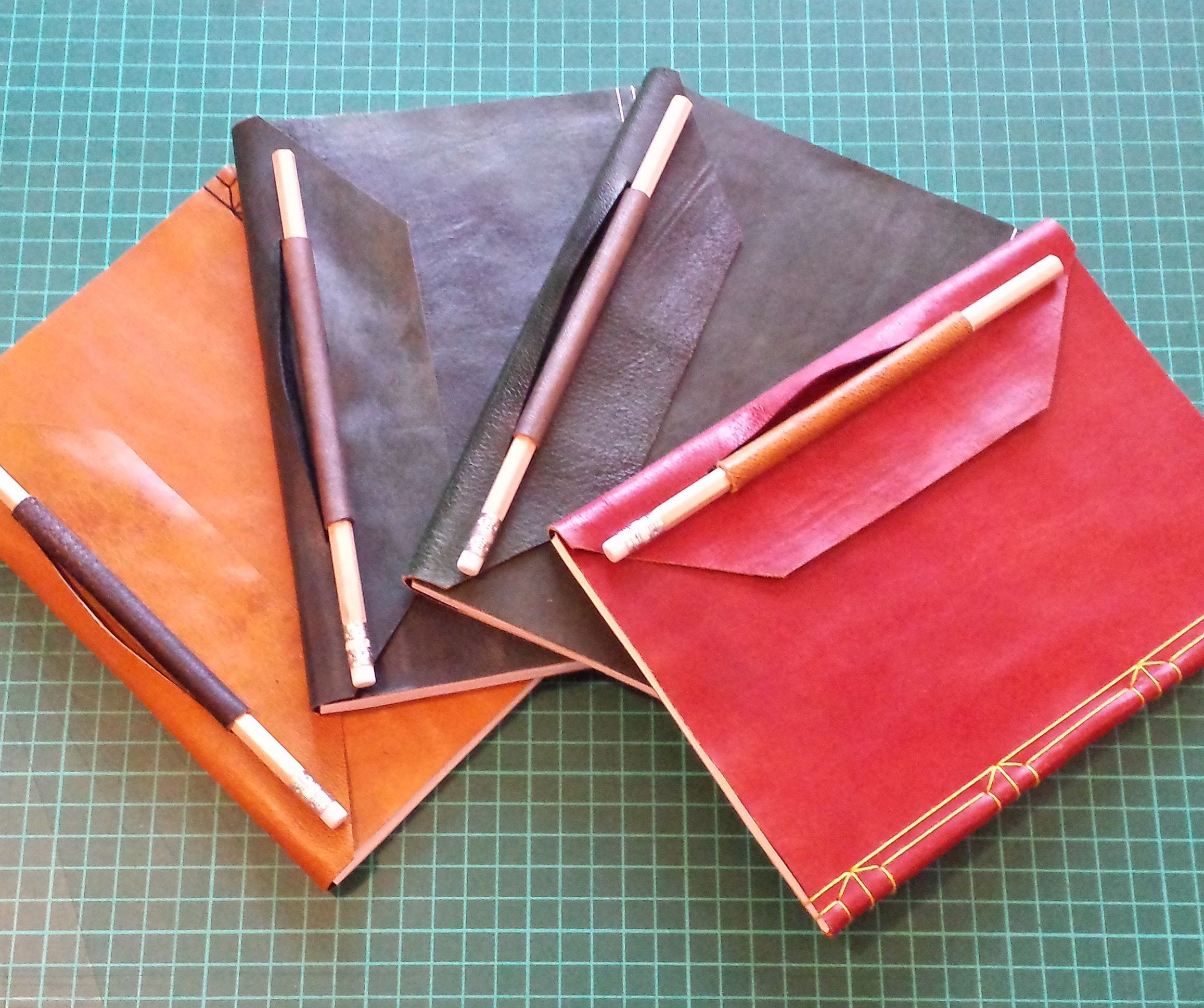 Distressed Leather Journal With Pencil Loop