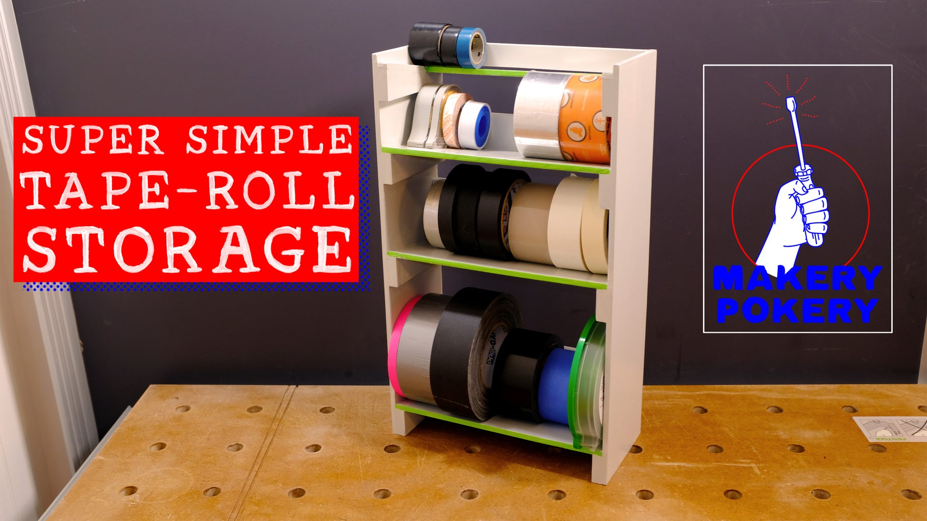 Super Simple Tape-Roll Storage Rack