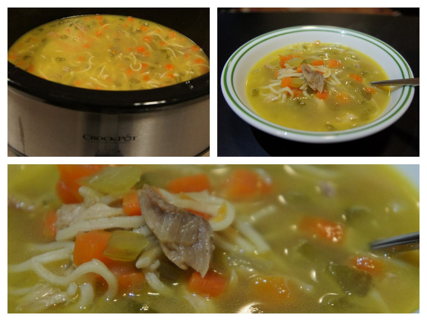 Simple Roasted Chicken Noodle Soup in Crock Pot