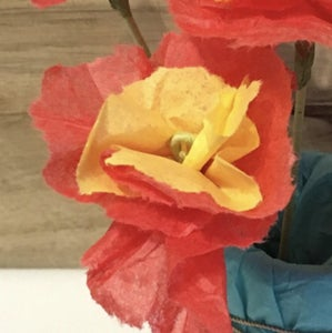 Adding Your Tissue Paper Petals to the Stem