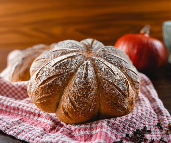 Pumpkin Spice Sourdough Bread in the Shape of a Pumpkin