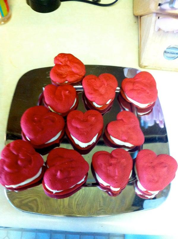 Red Velvet Heart Shaped Whoopie Pies