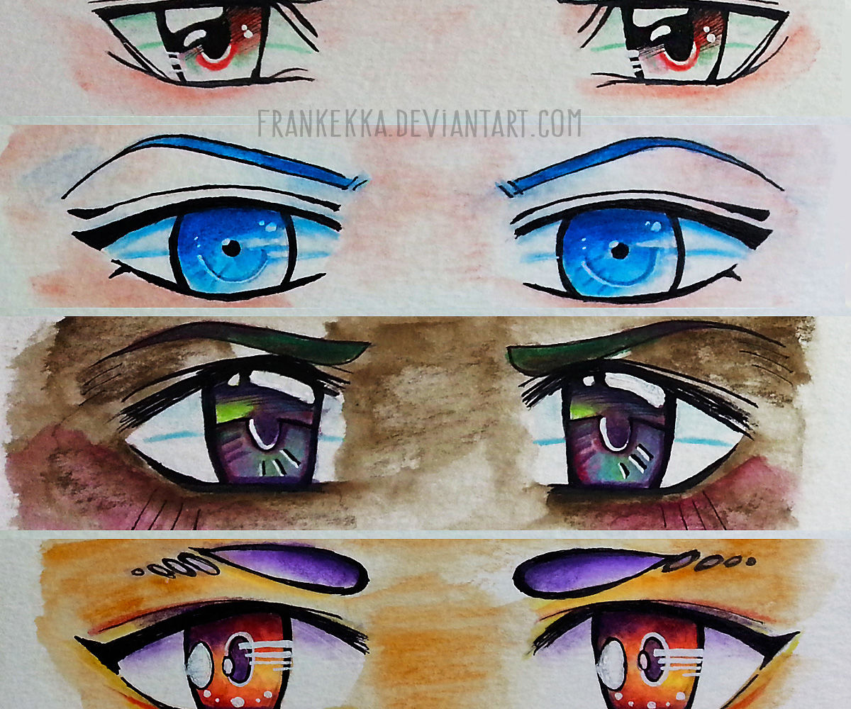 4 WAYS: Male Anime Eyes With Watercolor Pencils