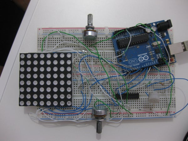 2-Player Pong Game Using Arduino Uno and 8x8 Led Matrix