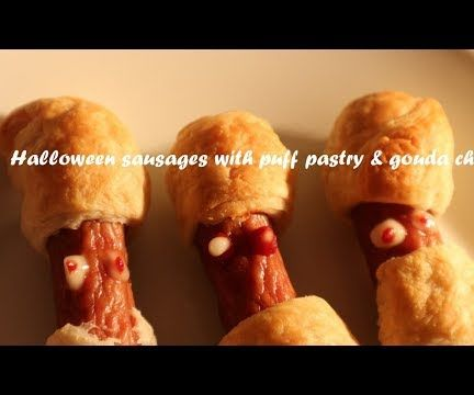 Halloween Sausages With Puff Pastry & Gouda Cheese Recipe