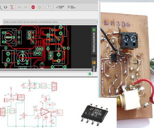 DIY LM386音频放大器:数据表,电路,PCB,硬件