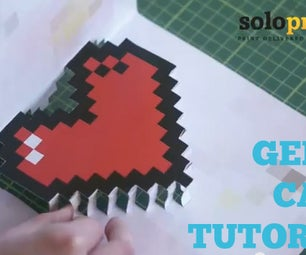 Geeky Pop-out Valentine's Day Card (Pixelated Heart)
