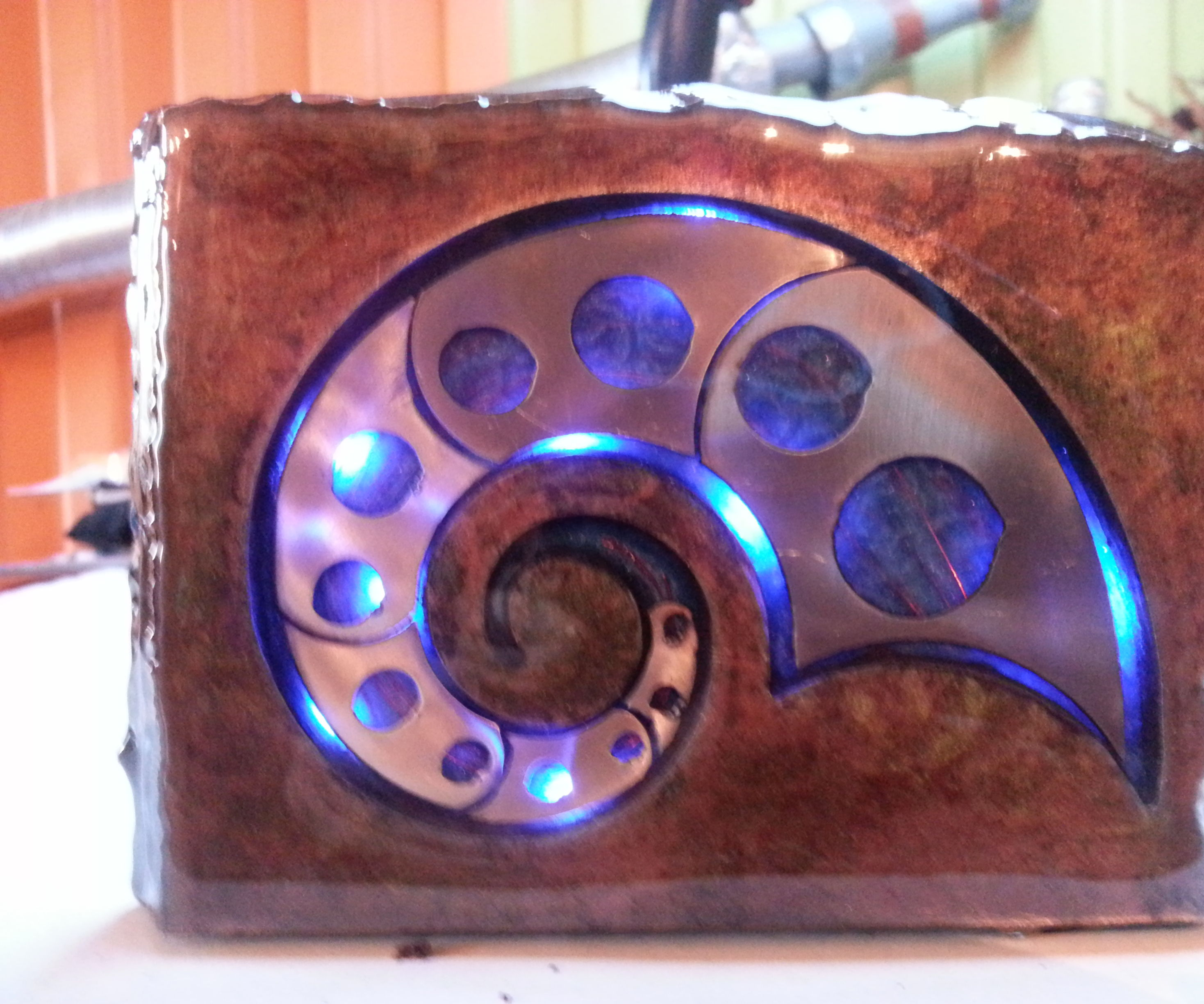 Glowing metal space fossil