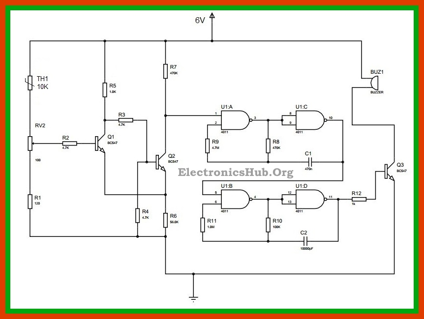 Thermistor Temperature Sensor Alarm Circuit