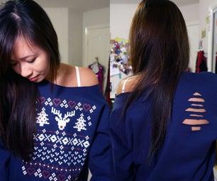 Christmas Tree Sweatshirt Cut Out