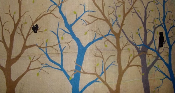 Feature Wall for Nursery - Trees on Burlap
