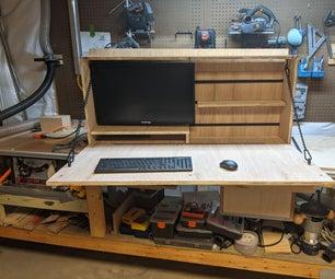 墙壁安装胶合板书桌