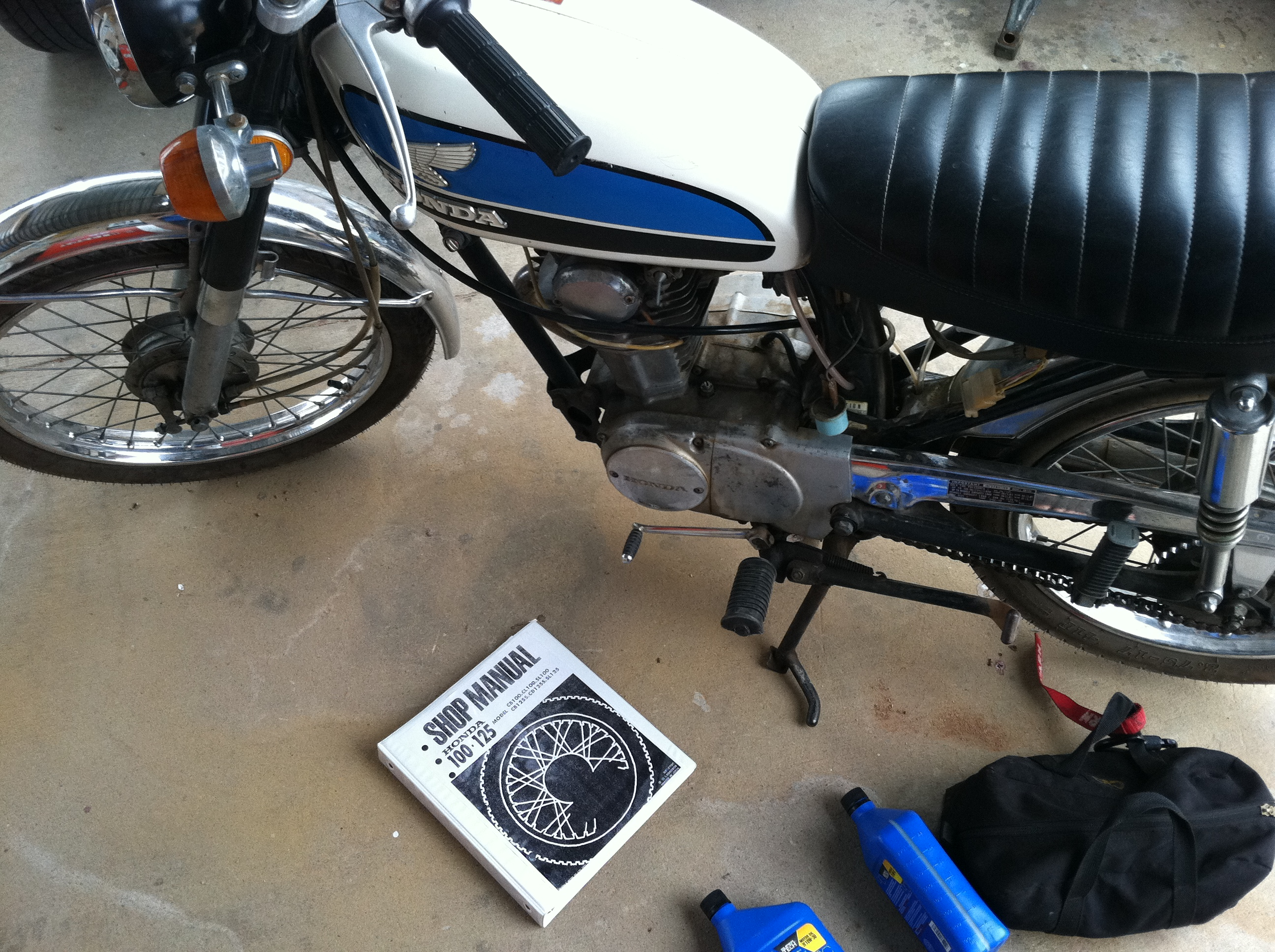 Change the oil in a vintage Honda CB100