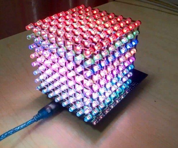 Use 8x8x8 RGB Led cube with Arduino