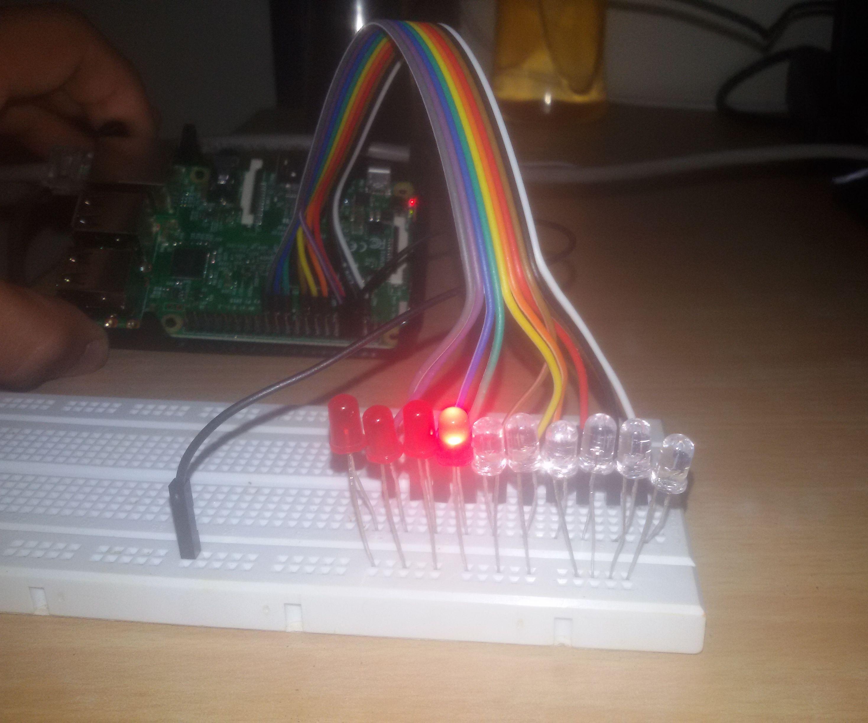 LED chaser using raspberry pi