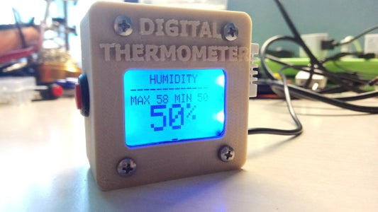 Arduino 3D Printed Digital Thermometer With DHT-22 Sensor